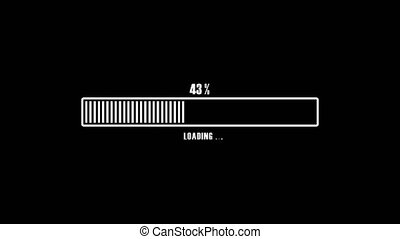 Animation white loading bar with running vertical lines on black screen. Percent indicator. From 1 to 100 transfer