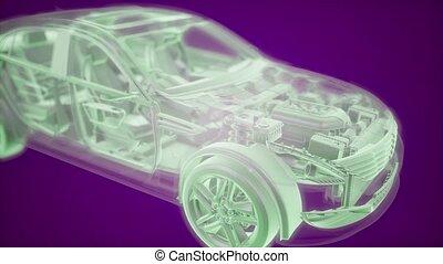 animation, wireframe, moteur, modèle, 3d, voiture, holographic