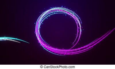 Animation with Colorful Grunge Particular Form Lines on Dark Background. Abstract Multicolor Motion Graphics Design on Digital Science Fiction or Mysterious Virtual Space Theme.
