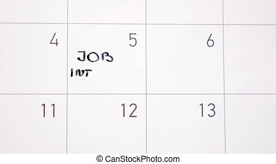 Animation writing job interview marking the day in calendar...