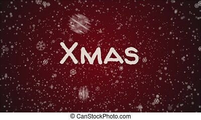 Animation Xmas, falling snow, red background