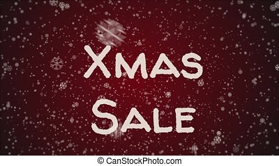 Animation Xmas Sale, falling snow, red background