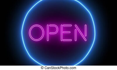 Animation zoom flashing neon sign 'Open'. No background