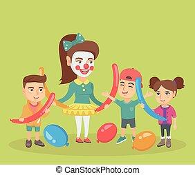 animator, balloons., enfants jouer