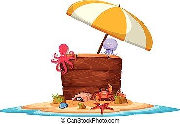 animaux, île, bannière, mer