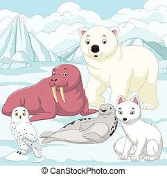 animaux, arctique, champ glace, fond, dessin animé