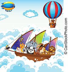 animaux, bateau