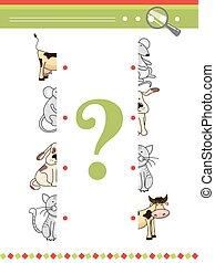 animaux, book., assorti, moitiés, jeu, vecteur, caractères, enfants, préscolaire