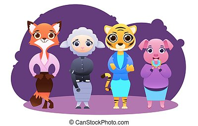 animaux, business, femme, équipe