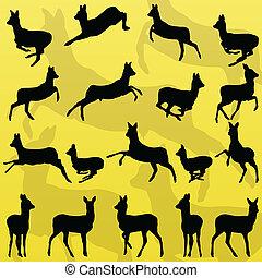 animaux, cerf, illustration, biche, silhouettes, vecteur, collection, fond, sauvage, venaison, forêt