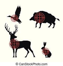 animaux chassant, icônes, arrière-plan., silhouettes, noir, blanc, cibles