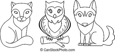 animaux, chiot, main, mignon, vecteur, linéaire, outline., drawing., coloring., gosses, chien, animaux familiers, -, hibou, livre, chaton, chat, ensemble, coloration, kawaii, owl.