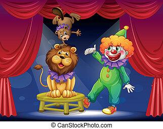animaux, clown, étape