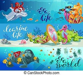 animaux, coloré, dessin animé, mer, bannières horizontales