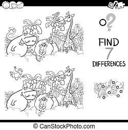 animaux, coloration, tache, différence, livre