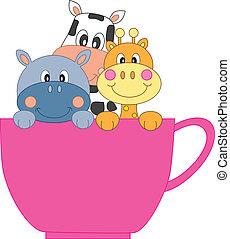 animaux, dans, a, tasse café