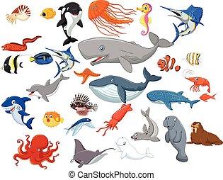 animaux, dessin animé, mer, isolé