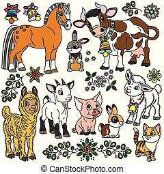 animaux ferme, dessin animé, collection