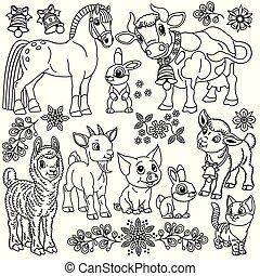 animaux ferme, dessin animé, ensemble, contour