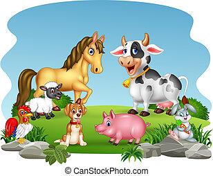 animaux ferme, dessin animé, fond, nature