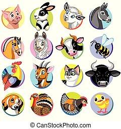 animaux ferme, dessin animé, icônes
