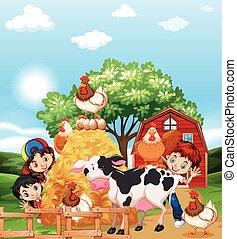 animaux ferme, enfants