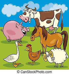 animaux ferme, groupe, dessin animé