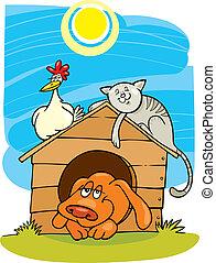 animaux ferme, heureux