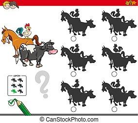 animaux, ferme, jeu, caractères, activité, ombre