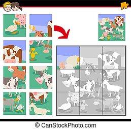 animaux, ferme, puzzle, puzzle, jeu, dessin animé