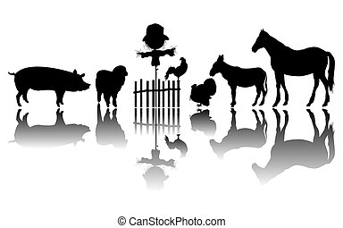 animaux ferme, silhouettes