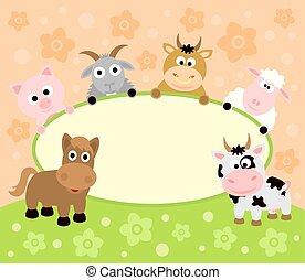 animaux, fond, carte