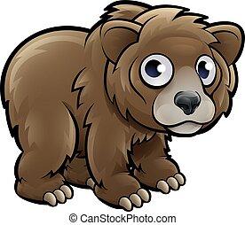 animaux, grisonnant, caractère, dessin animé, ours