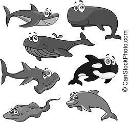 animaux, icônes, fish, océan, vecteur, mer, dessin animé
