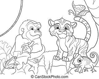 animaux, illustration, vecteur, forêt, dessin animé, jungle