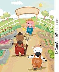 animaux, jardin, illustration