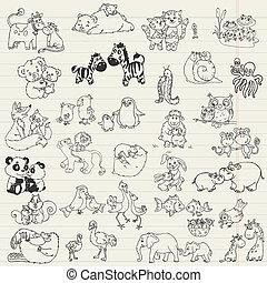 animaux, mamans, -, main, vecteur, bébé, dessiné