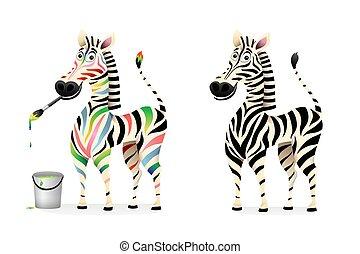 animaux, mascotte, couleurs, monochrome, zebra, dessin