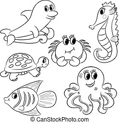 animaux, mer, esquissé, ensemble, dessin animé