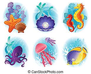 animaux mer, icônes