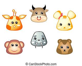 animaux, mignon, 2, ensemble, |