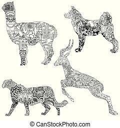 animaux, patterns., ethnique