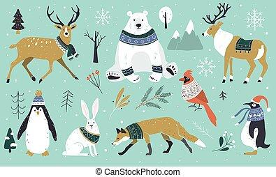 animaux, penguin., chandail, forêt, caractères, ensemble, noël, dessin animé, plat, main, design., scandinave, scarfs., lièvre, renne, dessiné, style., ours, renard, hiver