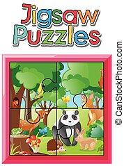 animaux, puzzle, puzzle, jeu, jungle, sauvage