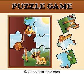 animaux, puzzle, puzzle, jeu, sauvage, heureux