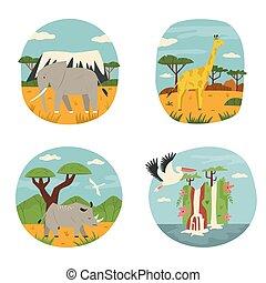 animaux, résumé, africaine, mettez stylique