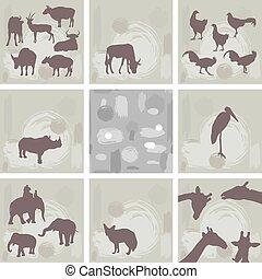 animaux, résumé, seamless, grand, ensemble, africaine, vecteur, silhouette., pattern.