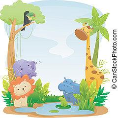 animaux, safari, fond