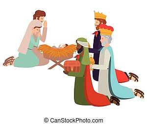 animaux, sage, famille, saint, rois