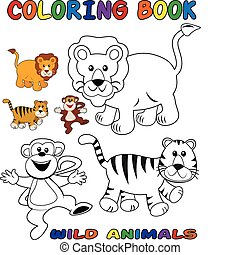 animaux sauvages, coloration, -, livre